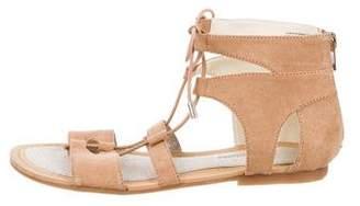 Stuart Weitzman Girls' Suede Lace-Up Sandals