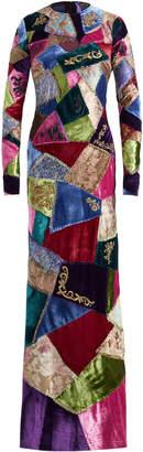 Ralph Lauren Hamlin Long Sleeve Patch Evening Dress