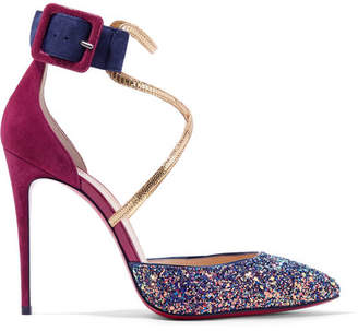 Christian Louboutin Suzanna 100 Leather-trimmed Glittered Suede Pumps - Plum