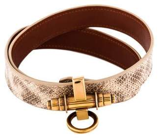 Givenchy Obsedia Snakeskin Leather Double Wrap Bracelet