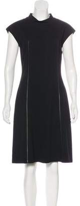 Lafayette 148 Faux Leather-Paneled Knee-Length Dress