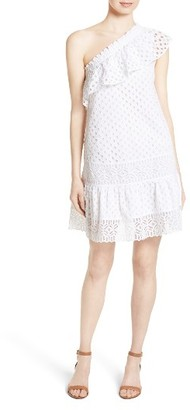 Women's Tory Burch Zoe Eyelet One-Shoulder Dress $395 thestylecure.com