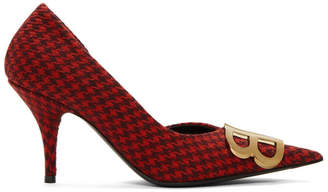 Balenciaga Red Houndstooth BB Heels