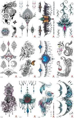 WholesaleSarong 10 sheets retro art nouveau boho temporary tattoo sexy body hand Halloween skin art