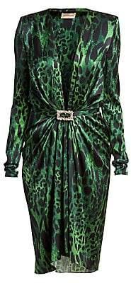 Alexandre Vauthier Women's Stretch Satin V-Neck Lynx Print Sheath Dress