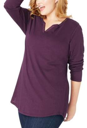 Just My Size Plus-Size Women's Lightweight Split V-neck Tunic