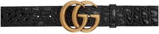 Gucci Black Croc GG Belt