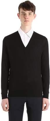 Prada Virgin Wool V Neck Sweater