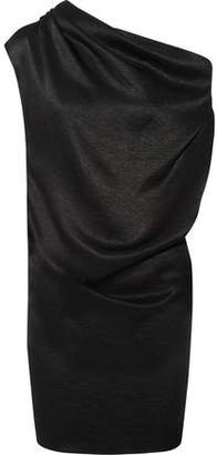 Lanvin One-Shoulder Draped Chain-Trimmed Satin-Jersey Mini Dress
