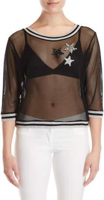 Gaudi' Gaudi Black Embellished Mesh Front Sweater
