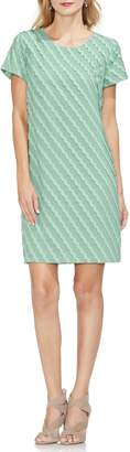 Vince Camuto Clipped Scallop Stripe Shift Dress