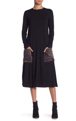 Couture Go A-Line Faux Fur & Printed Pocket Dress