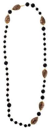 Dolce & Gabbana Leopard Print & Black Beaded Necklace
