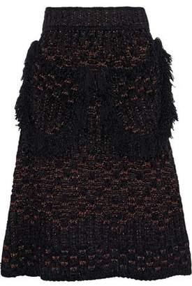 M Missoni Fringe-Trimmed Metallic Crochet-Knit Skirt