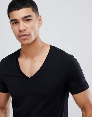 Asos Design DESIGN muscle fit t-shirt with deep v neck in black