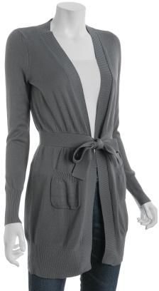 Design History carbon cotton-blend tie front long cardigan