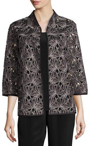 Caroline RoseCaroline Rose Laser Leaf Embroidered Jacket, Petite