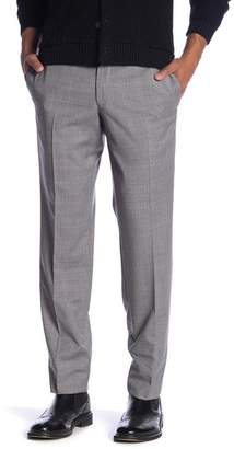 Ted Baker Jefferson Plaid Flat Front Wool Trim Fit Trousers