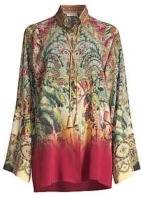 Etro Women's Castle Print Long Tunic Blouse