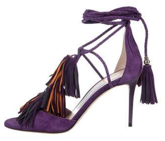 Jimmy Choo Suede Fringe Wrap-Around Sandals Purple Suede Fringe Wrap-Around Sandals
