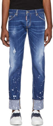 DSQUARED2 Blue Splashed Cuff Regular Clement Jeans