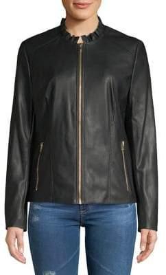 Cole Haan Classic Ruffle-Trim Jacket