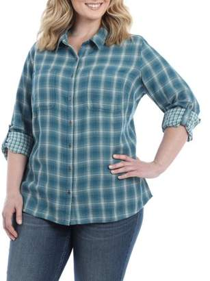 Lee Riders Women's Plus Long Sleeve Woven Shirt