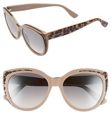 Jimmy ChooWomen's Jimmy Choo 'Nicky' 56Mm Cat Eye Sunglasses - Animal Black
