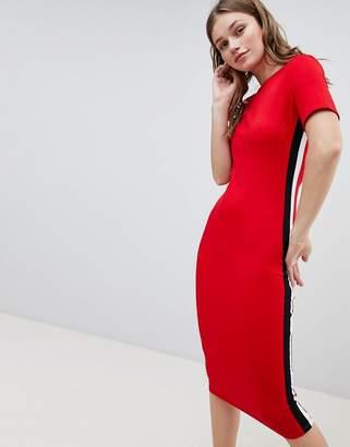 Bershka tshirt jersey dress in red