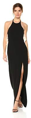 Halston Women's Colorblocked Sleeveless Halter Gown, Black/Cream