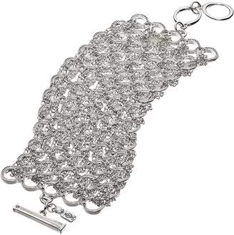 JLO by Jennifer Lopez Silver Tone Simulated Crystal Chain-Wrapped Toggle Bracelet