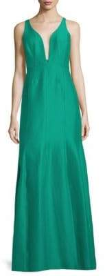 Halston V-Neck Sleeveless Ball Gown