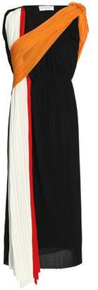 Vionnet Pleated Color-Block Crepe-Jersey Dress