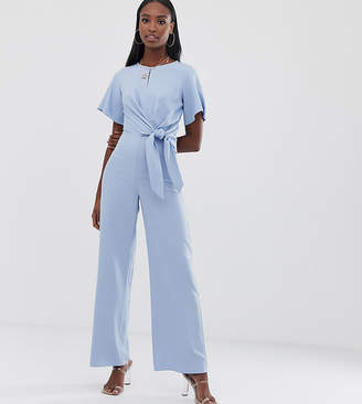 8812cdfb0f3 Missguided Tall tie detail jumpsuit in blue