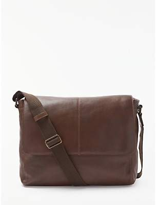 1ac4a969ddc7 John Lewis & Partners Gladstone 2.0 Leather Messenger Bag, Brown