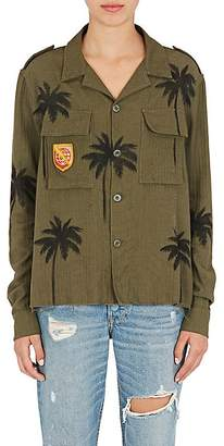 Amiri Women's Palm-Tree-Print Cotton-Cashmere Military Shirt