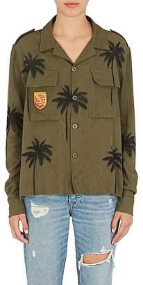 Amiri Women's Palm-Tree-Print Cotton-Cashmere Military Shirt