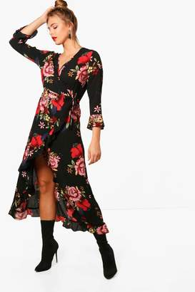boohoo Hillary Floral Midi Wrap Front Tea Dress