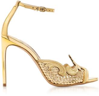 Sophia Webster Golden Mirror Leather and Mesh Rivera Sandal