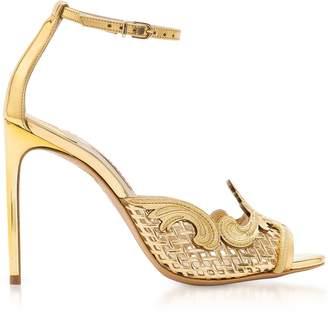 Sophia Webster Golden Mirrror Leather and Mesh Rivera Sandal