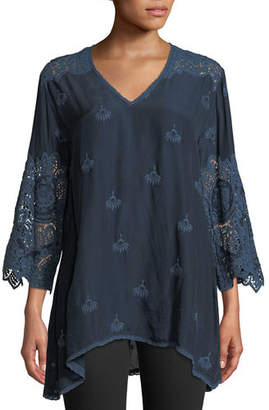 Johnny Was Jay Jay V-Neck Top with Crochet Detail, Plus Size