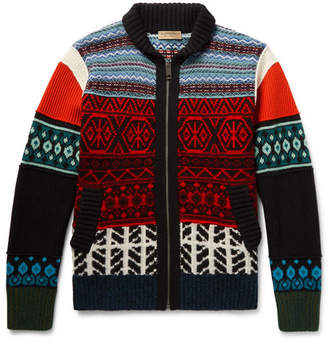 Burberry Patterned Wool, Cashmere and Cotton-Blend Zip-Up Cardigan