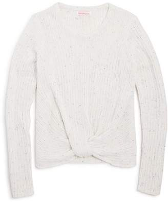 Design History Girls' Ribbed Knot-Front Sweater - Big Kid