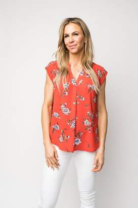 Gibson Cap Sleeve Split Neck Blouse