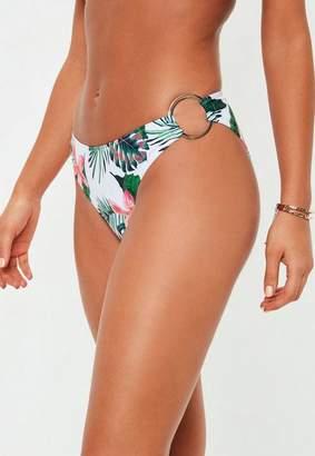 Missguided White Tropical High Leg Sash Side Bikini Briefs