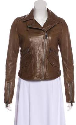 Burberry Nova Check-Lined Leather Jacket