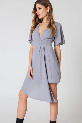 boohoo Wrap Occasion Dress Grey