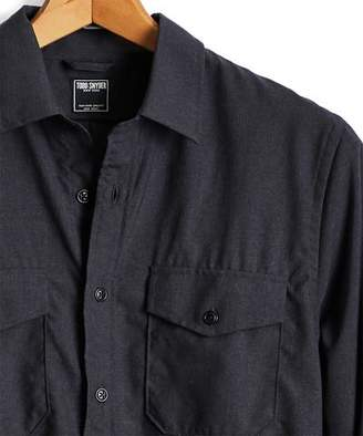 Todd Snyder Italian Wool Stretch Workshirt in Charcoal