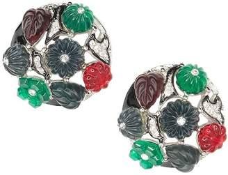 Kenneth Jay Lane Tutti Frutti Art Deco Clip Earrings
