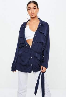 Missguided Navy Satin Jacket, Blue